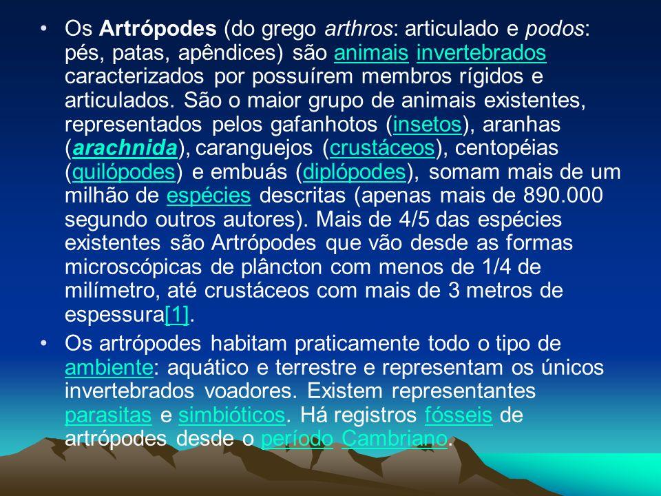 Os Artrópodes (do grego arthros: articulado e podos: pés, patas, apêndices) são animais invertebrados caracterizados por possuírem membros rígidos e articulados. São o maior grupo de animais existentes, representados pelos gafanhotos (insetos), aranhas (arachnida), caranguejos (crustáceos), centopéias (quilópodes) e embuás (diplópodes), somam mais de um milhão de espécies descritas (apenas mais de 890.000 segundo outros autores). Mais de 4/5 das espécies existentes são Artrópodes que vão desde as formas microscópicas de plâncton com menos de 1/4 de milímetro, até crustáceos com mais de 3 metros de espessura[1].